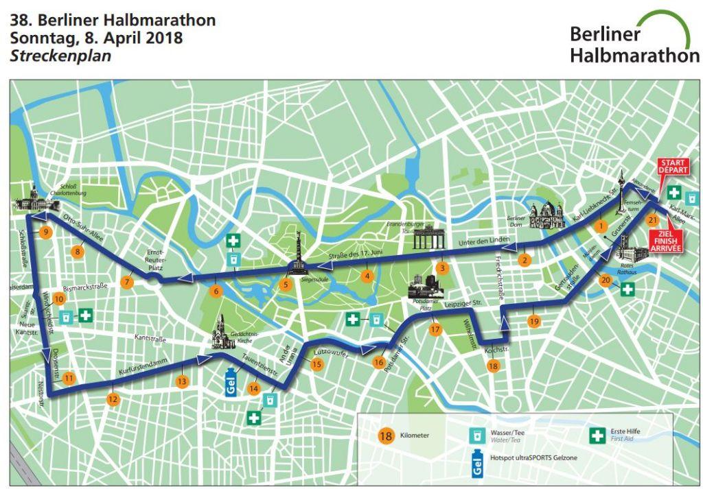 Strecke des Halbmarathon 2018.